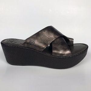 Women's Bronze Wedge Platform Thong Sandals